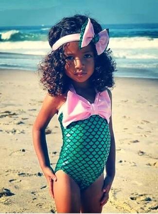 Купальник Русалочка (детский)слитный,рыбка,для девочек,зеленый,переливающийся. Кременчуг. фото 1