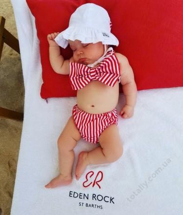 Купальник Дейзи,детский,для девочек,красно-белая полоска,бант,раздельный,красный. Кременчуг. фото 1