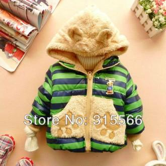 Осенне-весенняя куртка (курточка) Мишка зелёная. Николаев. фото 1
