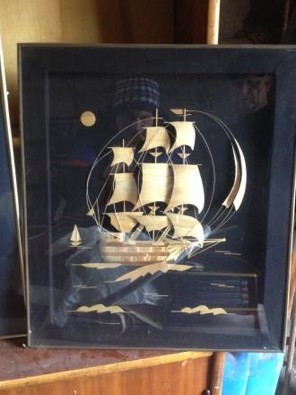 Картины из соломки под стеклом.. Родом из детства изготовлено в СССР.. Мариуполь. фото 1