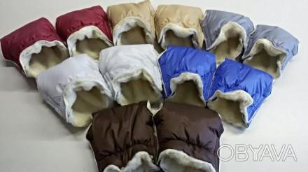 Теплая муфта-рукавички на ручки коляски и санок.  Застегиваются на липучках. . Днепр, Днепропетровская область. фото 1
