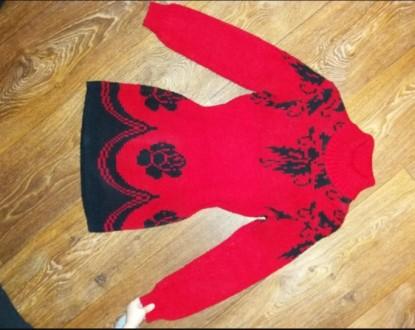 Продам теплое Платье- туника  вязаное на 7-9 лет.. Лозовая. фото 1