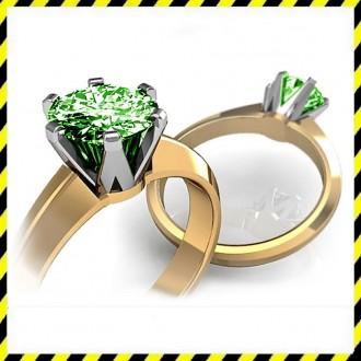Золотое кольцо Infinity с зеленым бриллиантом 0,51 карат. Эксклюзив!. Днепр. фото 1