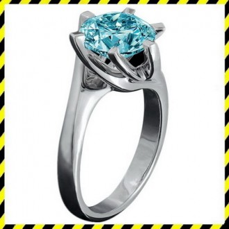 Золотое кольцо Stile с голубым с бриллиантом 0,64 ct.! 750 проба. Эксклюзив!. Днепр. фото 1