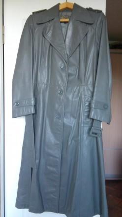 Новое кожаное пальто серого цвета. Николаев. фото 1
