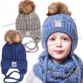 Шапка для мальчика Аляска D260. Окружность головы: 48-52 см.  Состав: 80% акрил. Хмельницкий, Хмельницкая область. фото 1