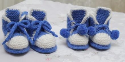 пинетки-ботиночки ручной работы двухцветные. Одесса. фото 1