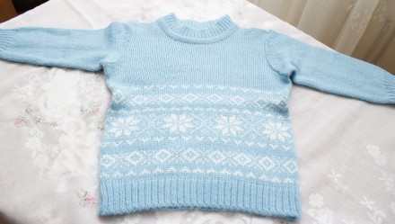 свитер бирюзовый снежинки с ромбами узор. Одесса. фото 1