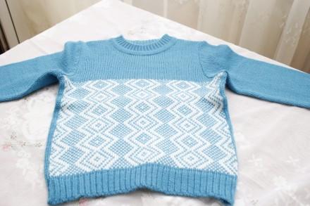 свитер бирюзовый белые ромбы. Одесса. фото 1
