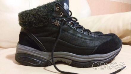 Ботинки Kappa кожа(нубук)+замша цвет черный состояние отличное(можно сказать-иде. Измаил, Одесская область. фото 1
