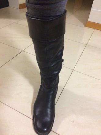 Сапоги черные кожаные ботфорты 38 р. (Польша). Львов. фото 1