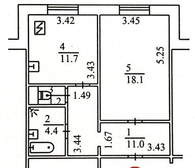 Общая площадь  46,4 м², комната  18,1 м², кухня 11,7 м², ванная комната  4,4 м²,. Киев, Киевская область. фото 6