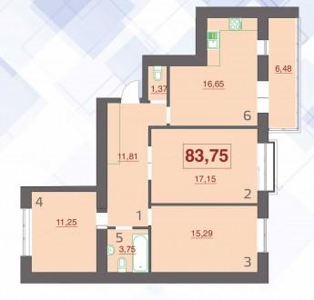 3 кімнатна квартира в м-н Пасічна. Площа: 83,75 м2. В квартирі: м/п вікна, брон. Пасічна, Івано-Франківськ, Івано-Франківська область. фото 4