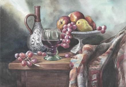 Картина Акварель - Натюрморт с кувшином и фруктами - художник Шашкова. Житомир. фото 1