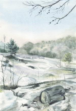 Картина Акварель - Первый снег - художник Оксана Шашкова. Житомир. фото 1