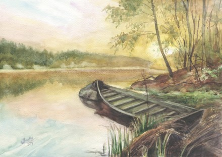 Картина Акварель - Пейзаж с лодкой - художник Оксана Шашкова. Житомир. фото 1