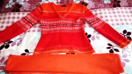 Джемпер+шарф, пуловер, свитер для девочки. Запорожье. фото 1