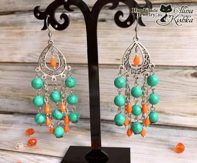 Стильные серебряные серьги с бирюзой. Яркие зеленые оранжевые сережки. Мелитополь. фото 1