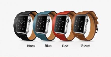 Кожаный Ремешок Xincuco Long для Apple Watch 38мм и 42мм (черный, коричневый.). Киев. фото 1