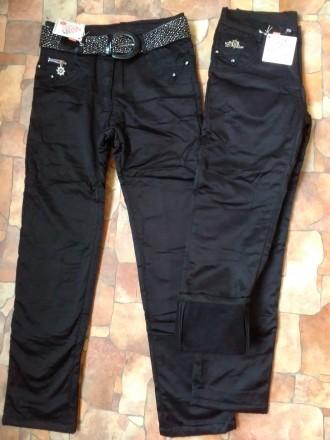 Теплые Брюки джинсы на флисе на девочку осень зима 7,8,9,10,11,12,13 л. Мариуполь. фото 1