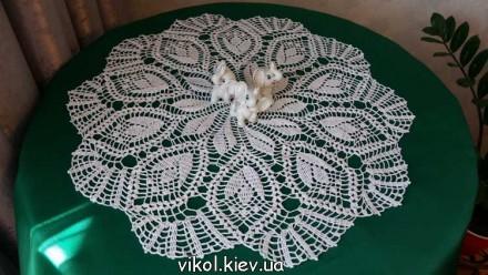 Круглая салфетка крючком Тюльпаны. Киев. фото 1