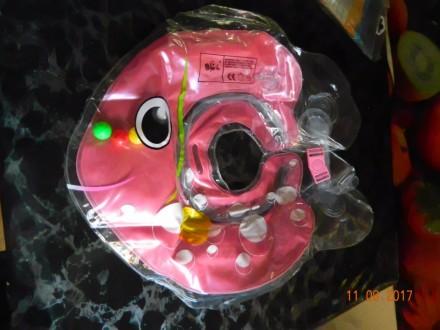 Продам круг для купания (цвет розовый).  Состояние новое. Внутри есть звенящие. Каменское, Днепропетровская область. фото 3