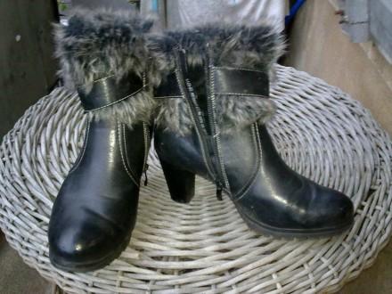 Полусапожки ( высота с каблуком -22,5см, каблук - 8 см ) зимние, б/у, размер - 4. Львов. фото 1