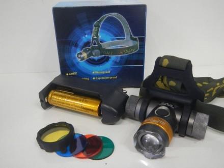 Налобный фонарик Bailong BL-H820-T6 50000W (3 фильтра). Чернигов. фото 1