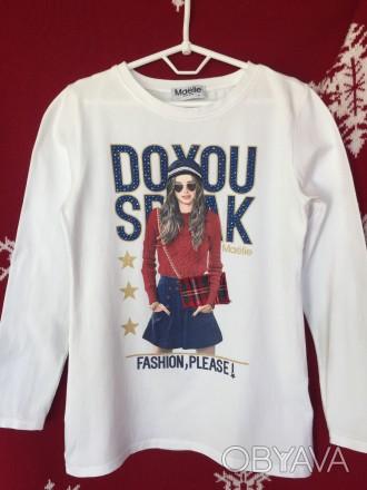 248103a1d93e Стильная футболка блузка реглан Maёlie стразы Италия оригинал девочке 10