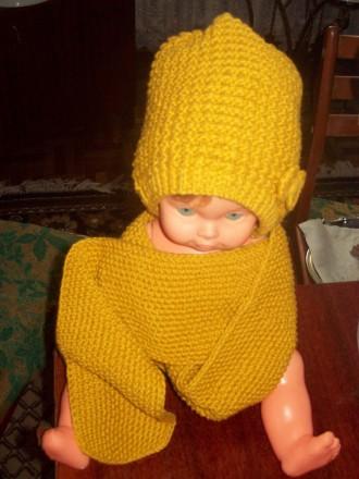 Новые шапочка и шарфик для девочки 2-4 лет.  Пряжа для детей. Вяжу сама.. Скадовск, Херсонская область. фото 4