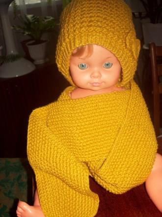 Продам новый комплект ( шапочка и шарф), ручная вязка.. Скадовск. фото 1