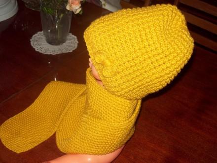 Новые шапочка и шарфик для девочки 2-4 лет.  Пряжа для детей. Вяжу сама.. Скадовск, Херсонская область. фото 3