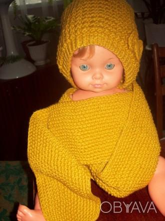 Новые шапочка и шарфик для девочки 2-4 лет.  Пряжа для детей. Вяжу сама.. Скадовск, Херсонская область. фото 1