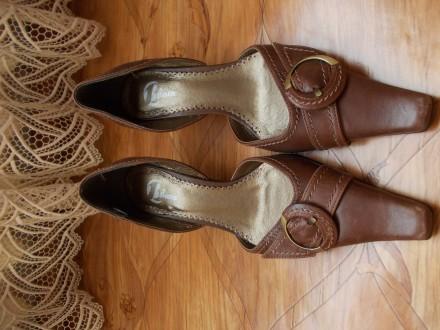 Туфли женские коричневые кожаные. Производство _ Италия.. Николаев. фото 1
