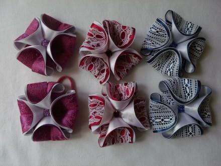 Объемные бантики из атласных лент с кружевом (3D Бантики). Измаил. фото 1