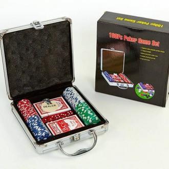 Набор для покера - 100 фишек без номинала (в алюминиевом кейсе). Славутич. фото 1