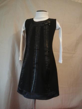 Черный сарафан с кожаными вставками на девочку 146 рост. Одеса. фото 1