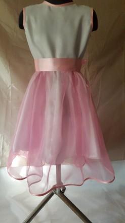 Нарядное платье на девочку рост 128 с нежно розовой юбкой, нижняя юбка из белого. Одесса, Одесская область. фото 2