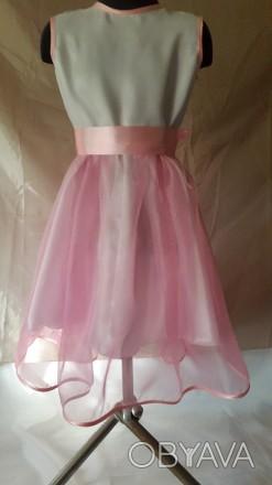 Нарядное платье на девочку рост 128 с нежно розовой юбкой, нижняя юбка из белого. Одесса, Одесская область. фото 1