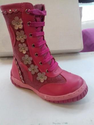 Продам новые кожаные зимние сапожки-ботинки для девочек. Размеры 26, 27, 28, 29. Верхнеднепровск. фото 1