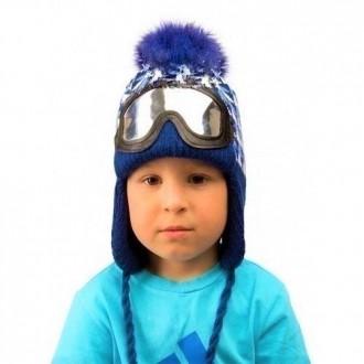 Оригинальная вязаная зимняя шапка Сноубордист на мальчика 2,3,4 года.. Маріуполь. фото 1