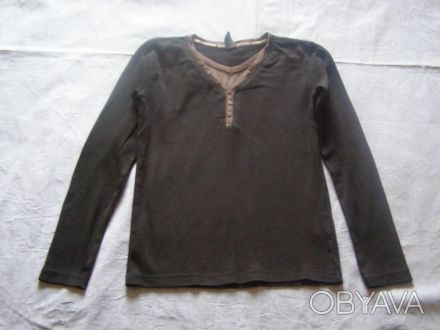 Черный свитерок с серой отделкой. Х/б трикотаж. длина-51 см длина рукава-49 см. Никополь, Днепропетровская область. фото 1