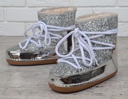 Дутики женские луноходы  металлик Moon Boots Silver с блестками. Харьков. фото 1