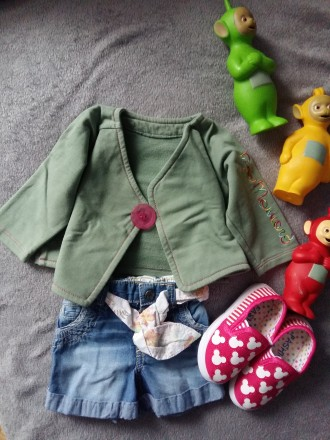 Джинсовые шорты для модниц 6-15мес. Ровно. фото 1