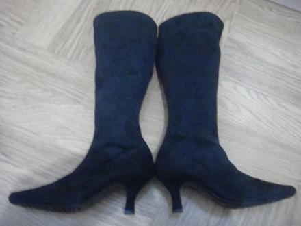 Продам текстильные деми сапожки на каблуке 5 см. На ощупь материал как замша, мя. Ирпень, Киевская область. фото 3