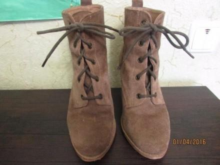 Женские натуральные замшевые ботиночки 38 размера, внутри натуральная кожа. На д. Сумы, Сумская область. фото 2