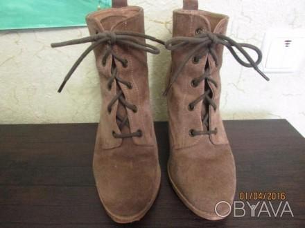 Женские натуральные замшевые ботиночки 38 размера, внутри натуральная кожа. На д. Сумы, Сумская область. фото 1