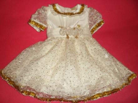 Платье польского бренда Fenimark 86 см. бело-золотое, новогоднее, праздничное. Полтава. фото 1