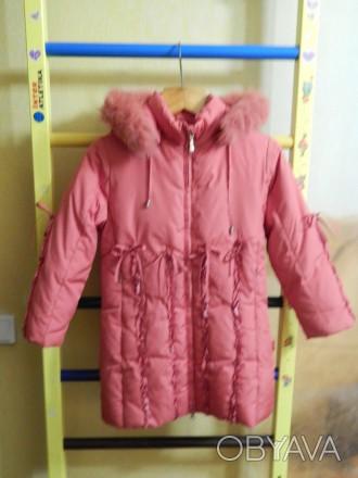 Коралловое пальто для девочки Kiko в хорошем состоянии, на рост 122 см, капюшон . Чернигов, Черниговская область. фото 1