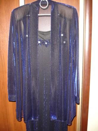 Платье/плаття на бретельках+накидка 44р., темно-синє, випускне/вечірнє. Львов. фото 1